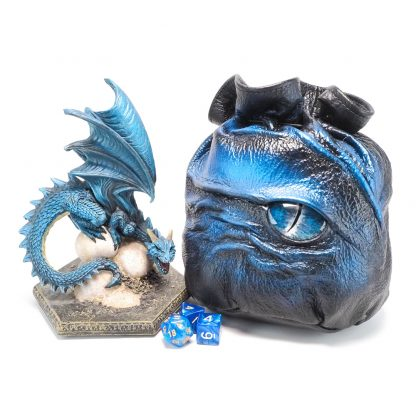 black leather dragon eye dice bag in shades of light blue and silver