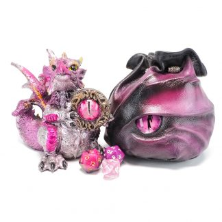 black leather dragon eye dice bag in shades of pink and purple