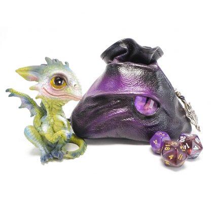 black leather dragon eye dice bag in shades of purple