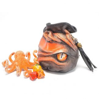 black leather dragon eye dice bag in shades of orange