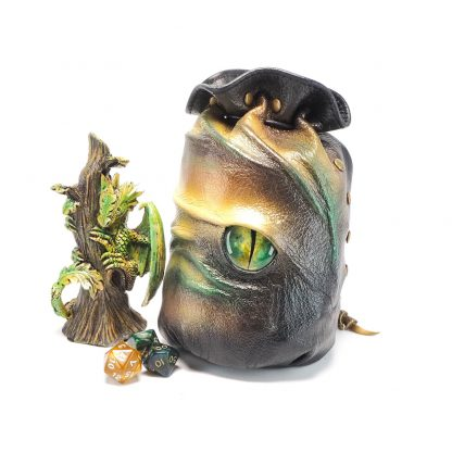 leather dragon eye dice bag in shades of green gold and yellow