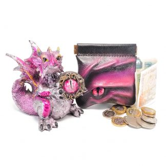 Black leather dragon eye coin purse in shades of fuchsia with bronze snap