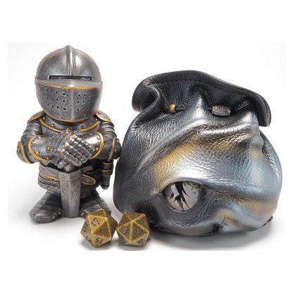 black leather silver dragon eye dice bag