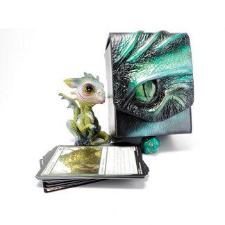black leather dragon eye deck box in shades of green