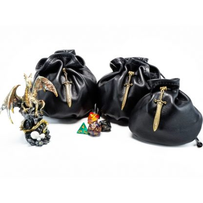 black leather dice bags with bronze sword charm in 3 sizes
