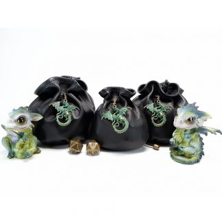 Black Leather Dig Bags with Dragon Charm
