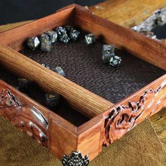 Ornate hardwood rolling tray with tentacles