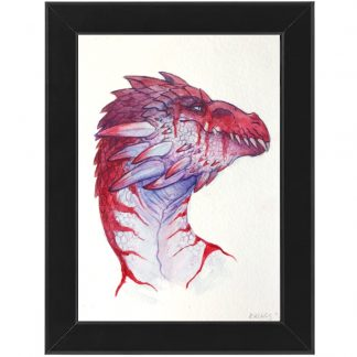 Silver red dragon painting Allie Briggs Watercolor