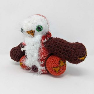 Fuzzy crocheted owlbear dice bag maxine baughman