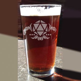 fantasy etched glassware D20 Crest Pint Glass MC Etching