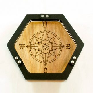 hexagon compass etched wood dice tray C4Labs