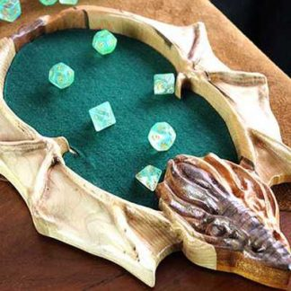 Mixed Hardwood Dragon Dice Rolling Tray with Natural finish