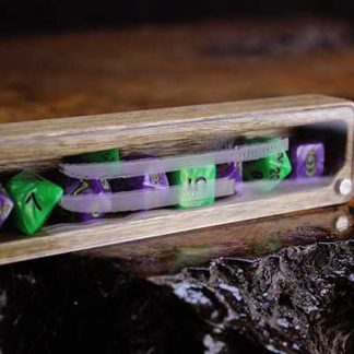 clear cover dice box with engraved katana