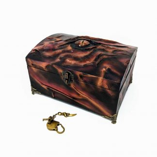 wood and black leather dragon eye treasure chest in shades of bronze and red