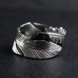 Fantasy Silver Ring Feather Design Lukas Craft