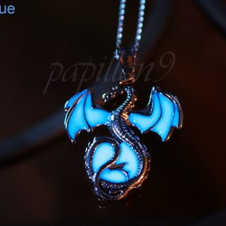 Glow-in-the-dark Dragon Pendant Necklace in blue