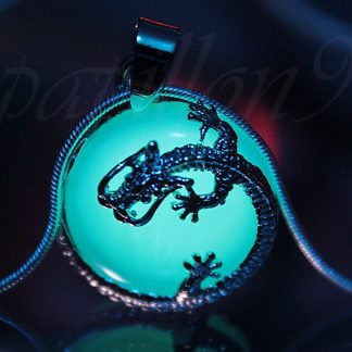 Opalite Dragon Pendant Necklace glowing turquoise