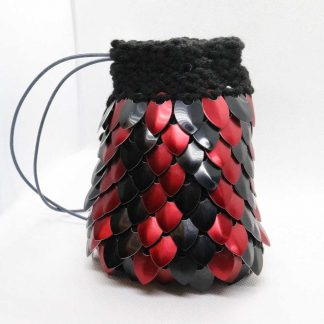 knitted scalemail dice bag