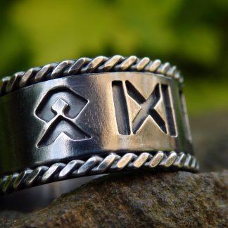 fantasy silver Viking rune ring Lukas Craft
