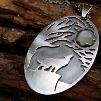 Silver and moonstone fantasy wolf pendant Lukas Craft