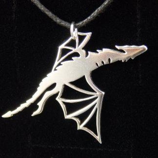 fantasy silver dragon pendant Lukas Craft