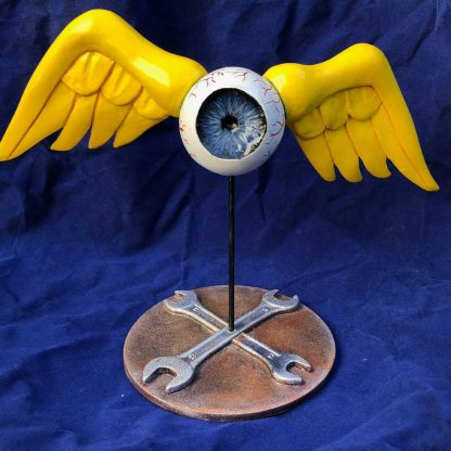 Von-Dutch-style Flying Eyeball Sculpture castings of cthulhu